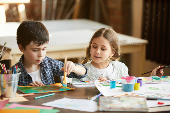Two Kids Painting - Stock Photo - Images