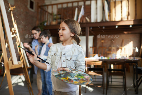 Cute Little Artist Painting - Stock Photo - Images