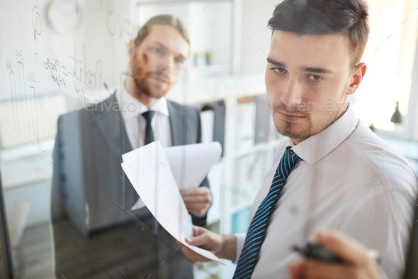 Explaining data on board - Stock Photo - Images