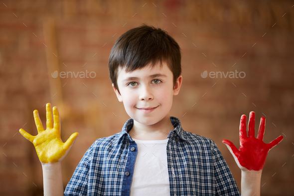 Cute Boy Fingerpainting - Stock Photo - Images