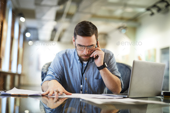 Business Man Working in Art Space - Stock Photo - Images