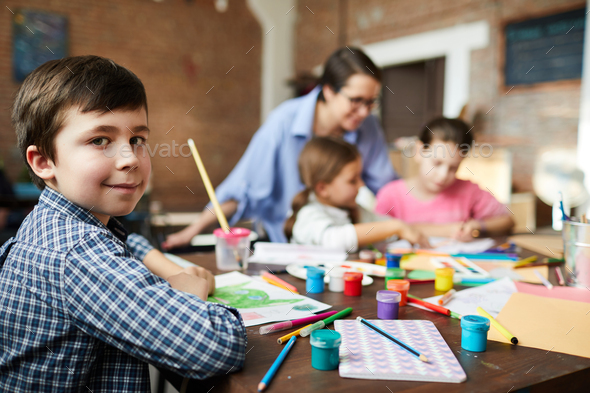 Cute Little Boy in Art Class - Stock Photo - Images