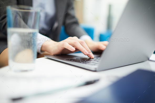 Businesswoman Typing Closeup - Stock Photo - Images