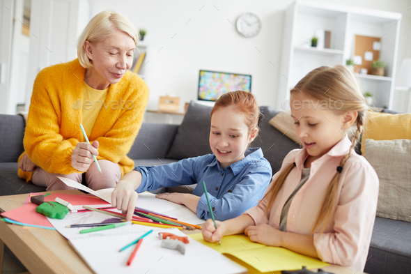 Children Making Handmade Greeting Cards - Stock Photo - Images