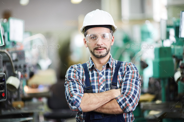 Mature Factory Worker Posing - Stock Photo - Images
