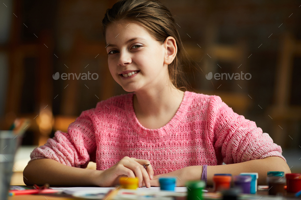 Portrait of Teenage Girl Drawing - Stock Photo - Images