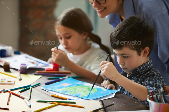 Two Siblings Painting - Stock Photo - Images