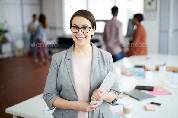 Modern Businesswoman Posing in Office - Stock Photo - Images