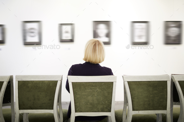 Unrecognizable Woman in Art Gallery - Stock Photo - Images