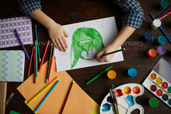 Little Boy Drawing Monster - Stock Photo - Images
