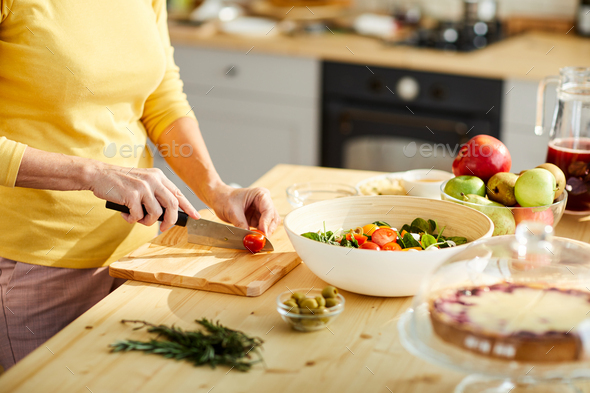 Cooking Greek salad - Stock Photo - Images