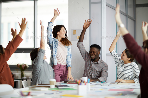Contemporary Business People Raising Hands - Stock Photo - Images