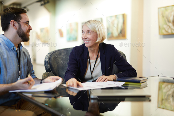 Two People Planning Exhibition - Stock Photo - Images