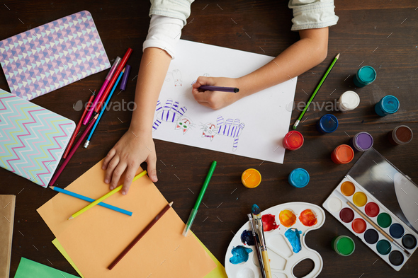 Unrecognizable Child Drawing Cats - Stock Photo - Images