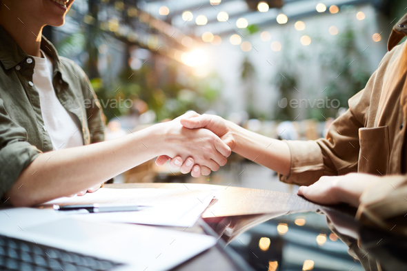 Concluding deal in cafe - Stock Photo - Images
