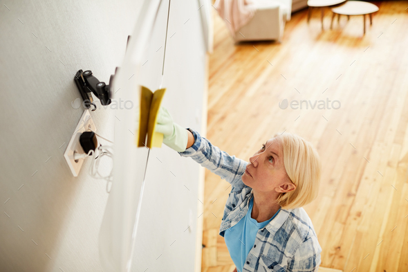 Busy woman wiping television set - Stock Photo - Images