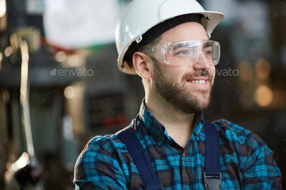 Joyful Factory Worker - Stock Photo - Images