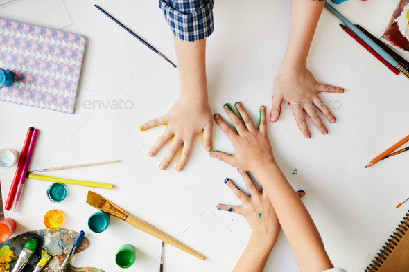 Fingerpainting Above View - Stock Photo - Images