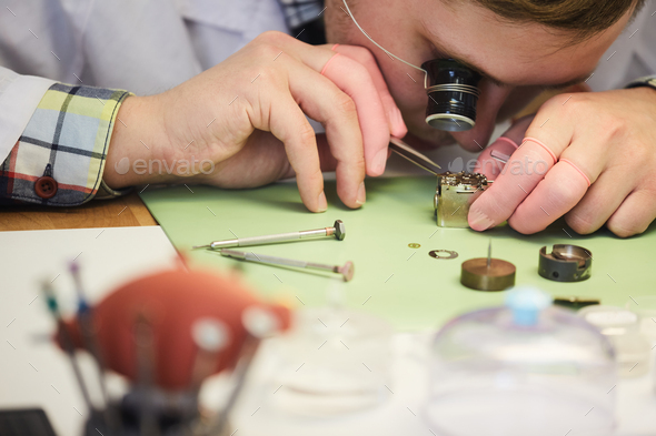 Watchmaker Close up - Stock Photo - Images