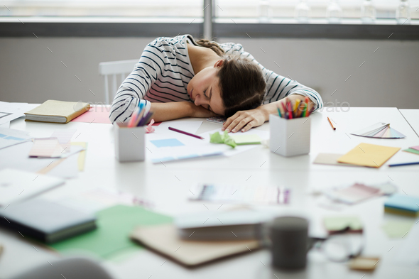 Student Asleep on Desk - Stock Photo - Images