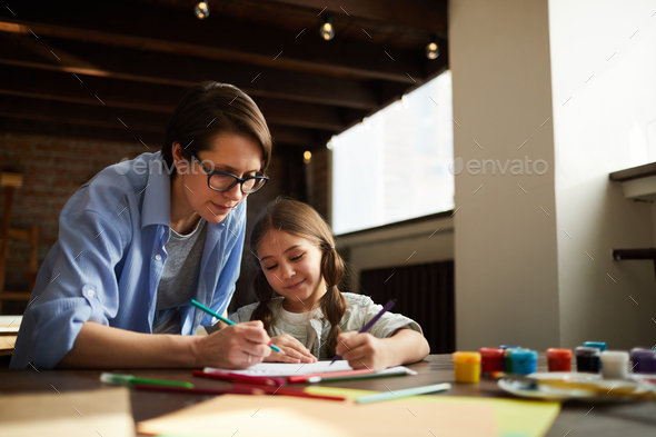 Mother and Daughter Drawing - Stock Photo - Images