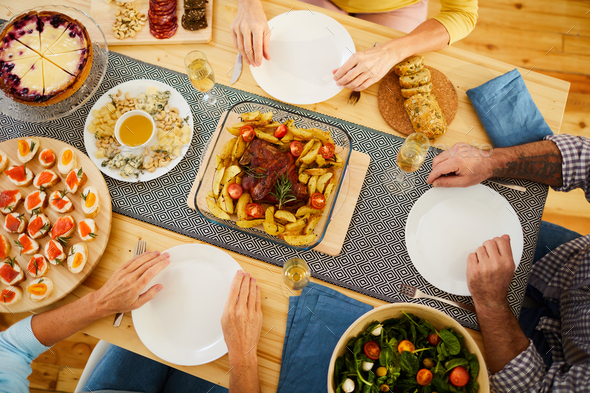 Tasty dinner for friends - Stock Photo - Images