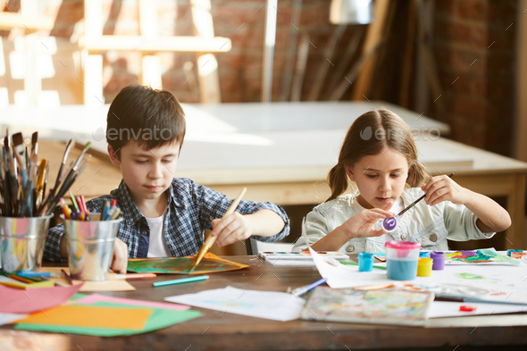 Brother and Sister Painting - Stock Photo - Images