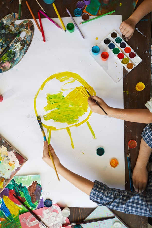 Kids Drawing Sun Above View - Stock Photo - Images
