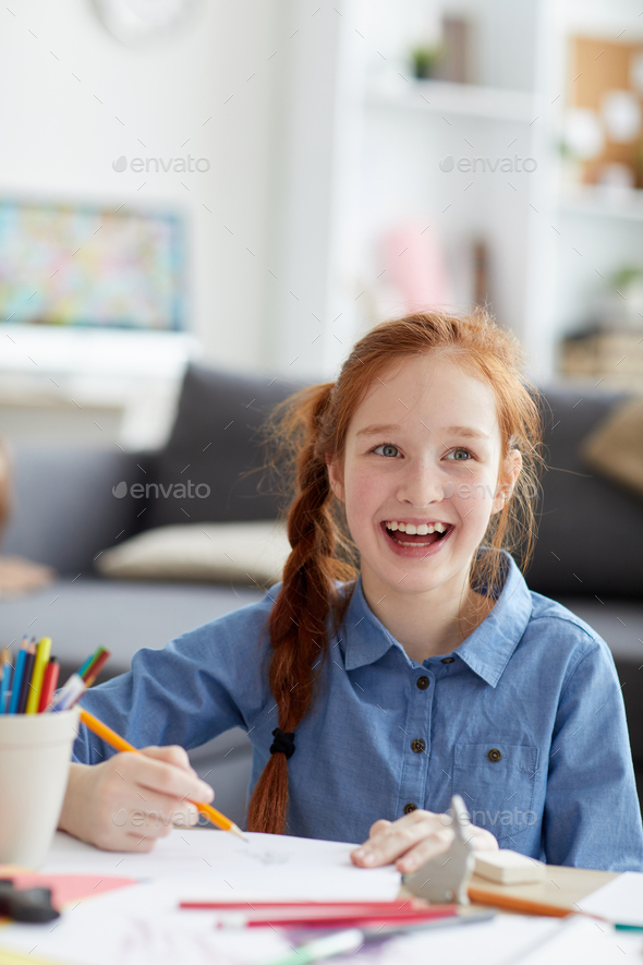 Smiling Red haired Girl - Stock Photo - Images