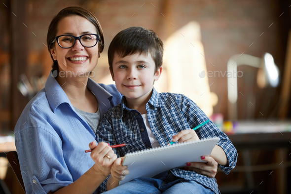 Portrait of Mother and Son - Stock Photo - Images