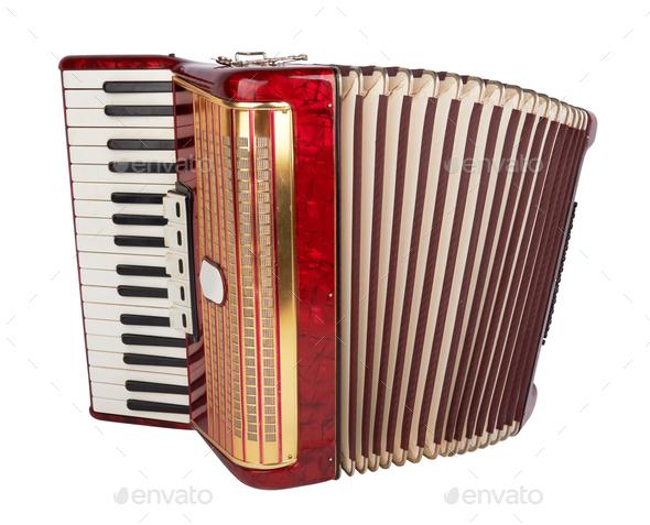 Retro accordion isolated - Stock Photo - Images