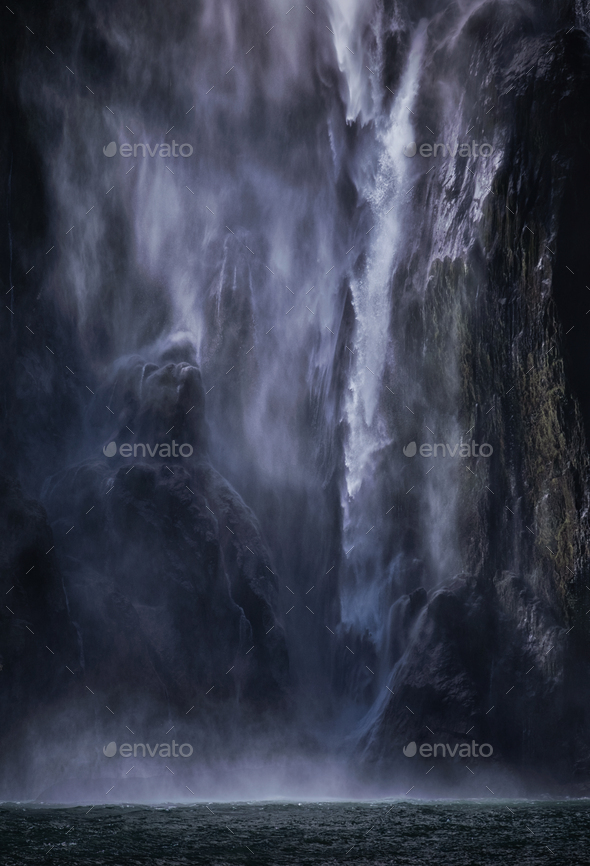 Powerfall waterfall of Milford - Stock Photo - Images
