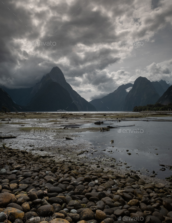 Milford Sound at low tide - Stock Photo - Images