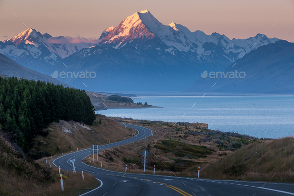 Road to Mount Cook - Stock Photo - Images