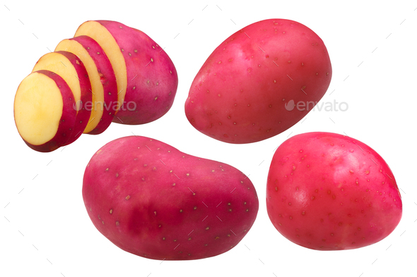 Red potatoes s. tuberosum, paths - Stock Photo - Images