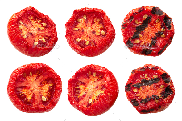 Semi-dried grilled tomato halves, paths - Stock Photo - Images