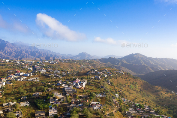 Aerial view of Rebeirao Manuel in Santiago island in Cape Verde - Stock Photo - Images