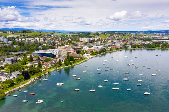 Aerial view of Morges city waterfront in the border of the Leman - Stock Photo - Images