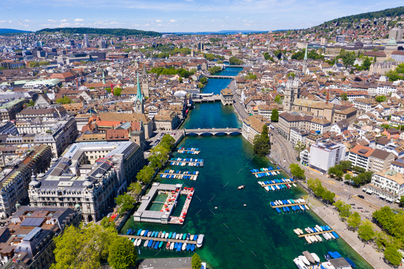 Aerial view of Zurich  city in Switzerland - Stock Photo - Images