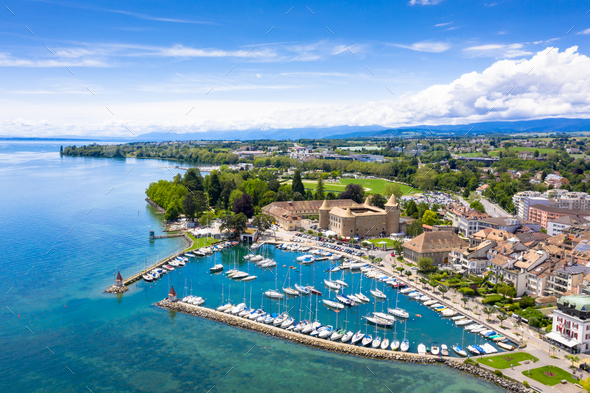Aerial view of Morges castle in the border of the Leman Lake in - Stock Photo - Images