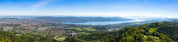 Panaromic view of Zurich city and lake from Uetliberg viewpoint - Stock Photo - Images