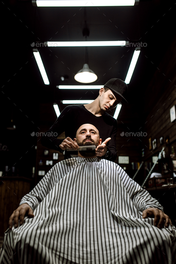 The stylish barbershop. The fashion barber tidies up beard of brutal man sitting in the armchair - Stock Photo - Images
