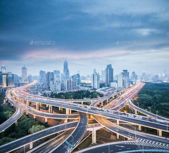 city interchange in shanghai - Stock Photo - Images