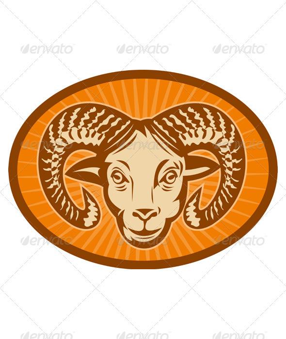 Ram Sheep Head - Animals Characters