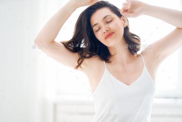 woman enjoying sunny morning - Stock Photo - Images