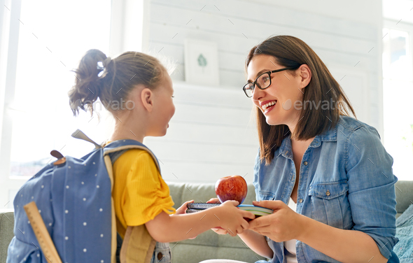Parent and pupil of preschool. - Stock Photo - Images