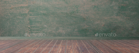 Empty room, rustic wood floor and green wall, banner, copy space. 3d illustration - Stock Photo - Images