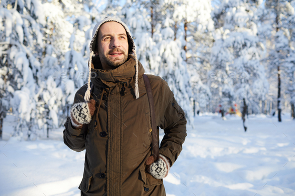 Man Enjoying Winter Hike - Stock Photo - Images