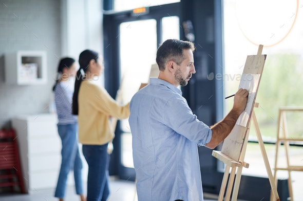 Students painting - Stock Photo - Images