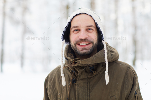 Smiling Adult Man in Winter - Stock Photo - Images